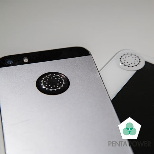 Penta Power Phone Tag Black and White on smartphone and tablet transforms negative effects of radiation