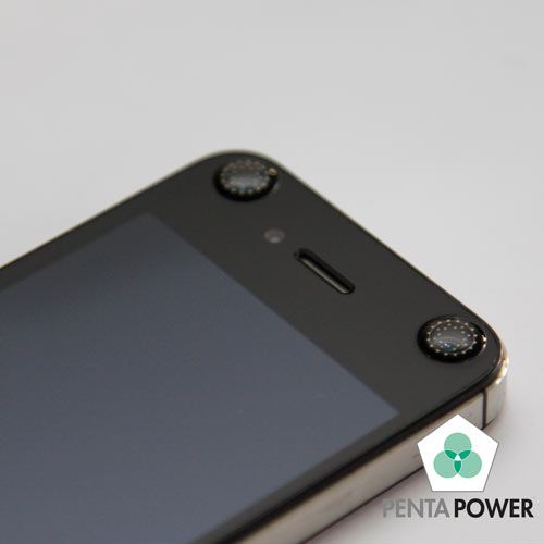 Penta Power Phone Tag Black on smartphone transforms negative effects of radiation